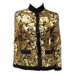 Yves Saint Laurent Gold Black Silk Evening Jacket 42- 1990s YSL