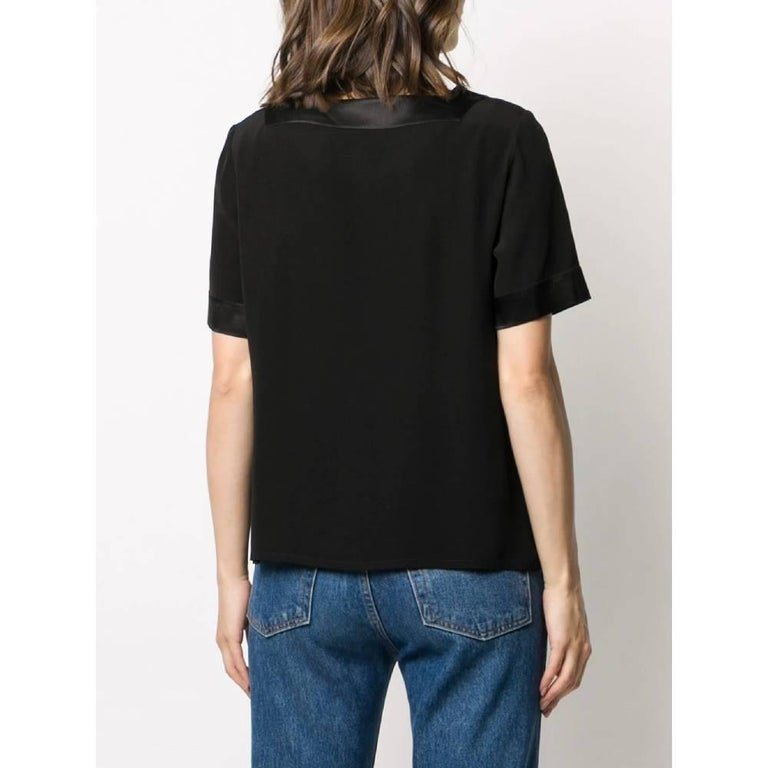 1990s Yves Saint Laurent Black Blouse In Excellent Condition For Sale In Lugo (RA), IT