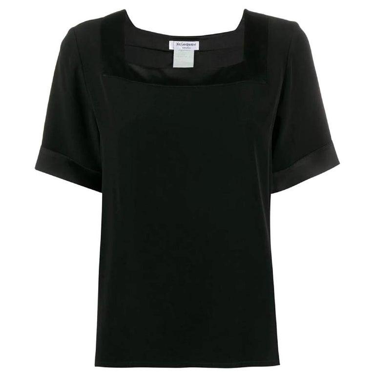 1990s Yves Saint Laurent Black Blouse For Sale