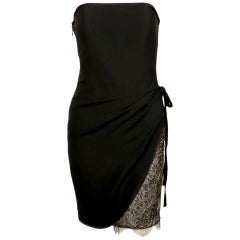 1990's YVES SAINT LAURENT black draped strapless dress with lace