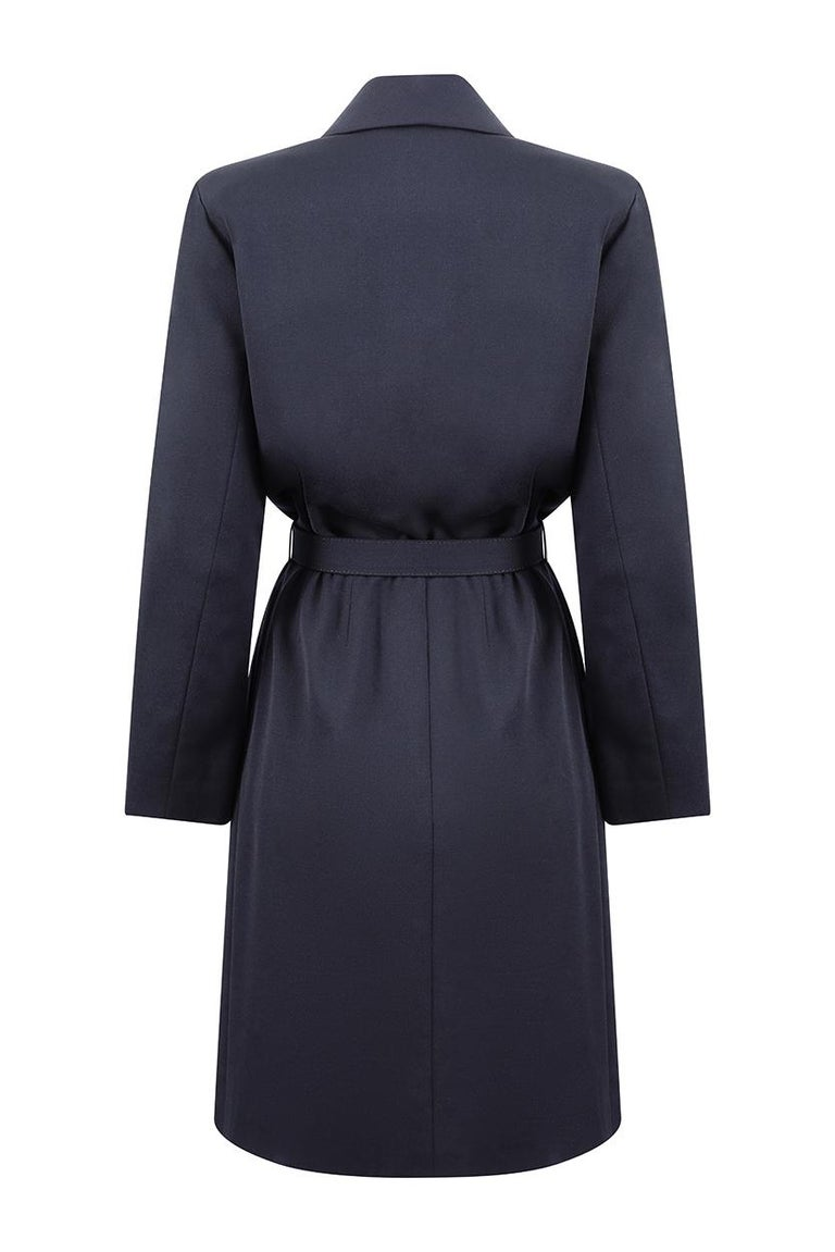 1990s Yves Saint Laurent Black Dress with Crystal Buttons and Matching Belt In Excellent Condition For Sale In London, GB