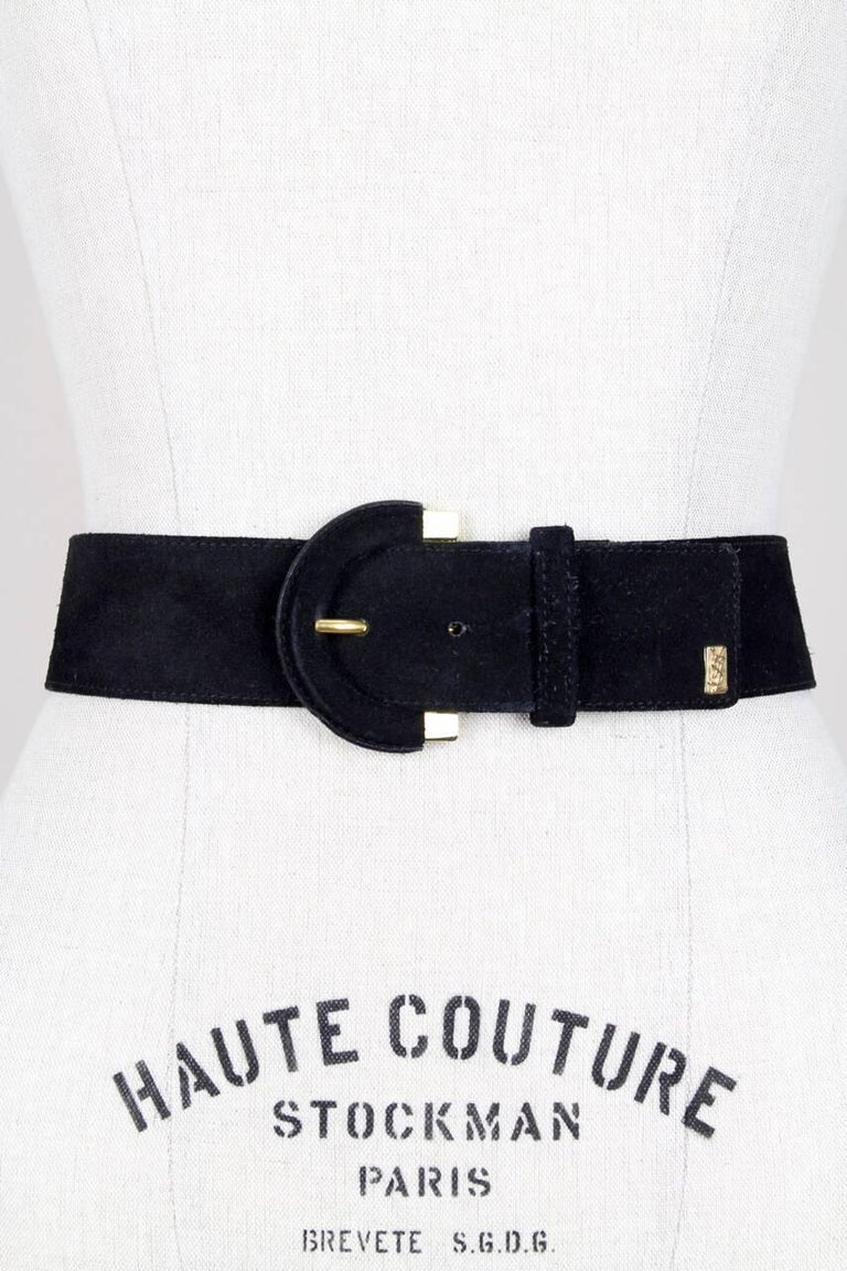 Women's Yves Saint Laurent Black Suede Belt With Gold Tone Accents and YSL Logo, 1990s  For Sale