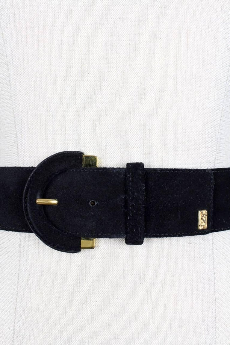Yves Saint Laurent Black Suede Belt With Gold Tone Accents and YSL Logo, 1990s  For Sale 1