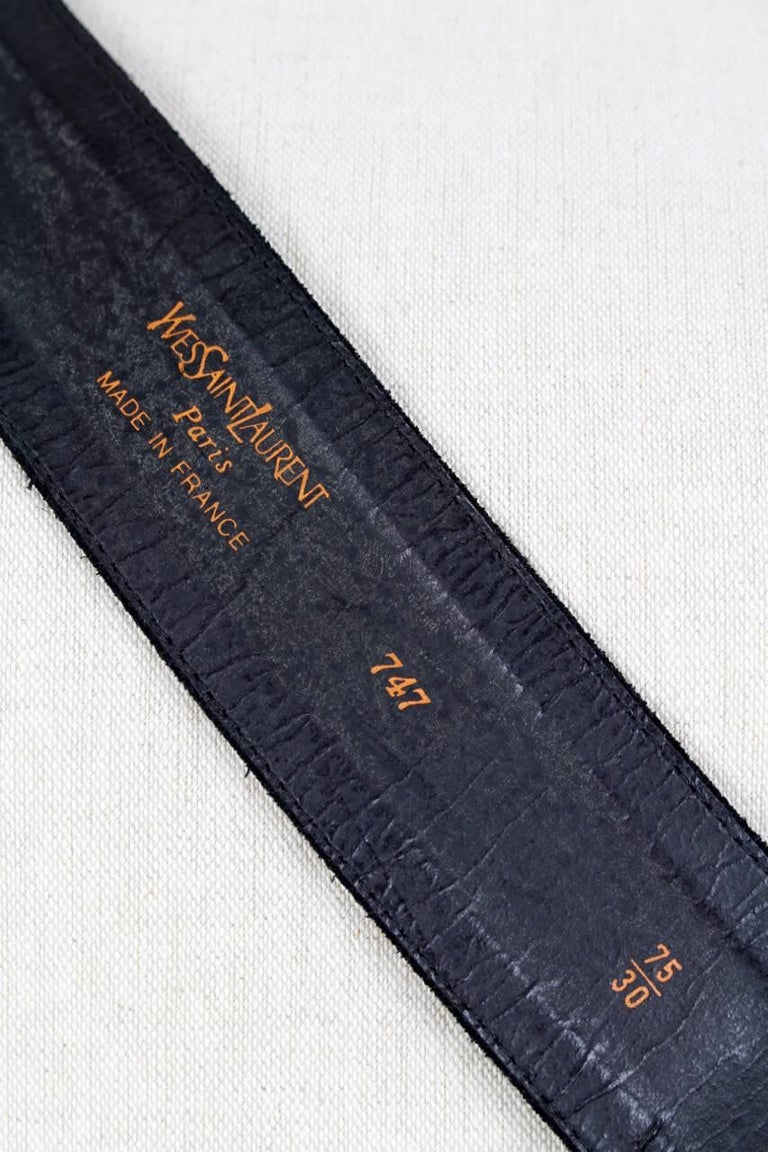 Yves Saint Laurent Black Suede Belt With Gold Tone Accents