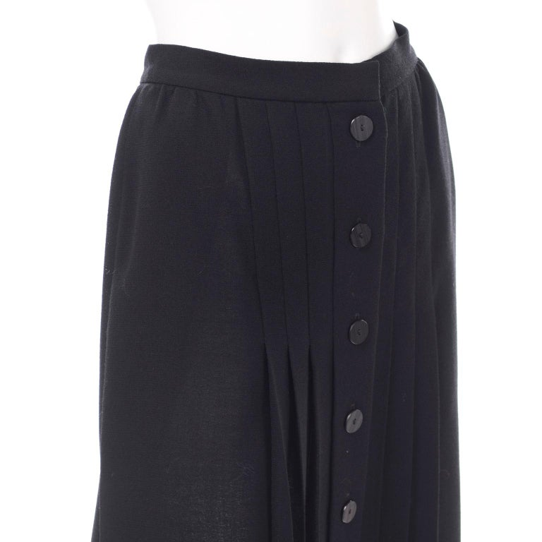 1990s Yves Saint Laurent Black Wool Pleated Midi Skirt Size 8/10 For Sale 3