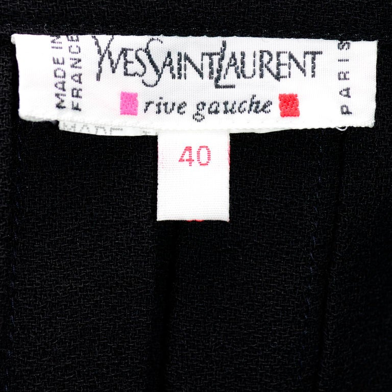 1990s Yves Saint Laurent Black Wool Pleated Midi Skirt Size 8/10 For Sale 5