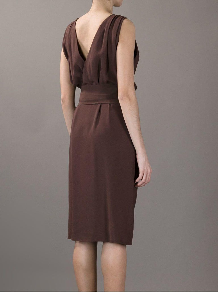 1990s Yves Saint Laurent Brown Dress In Good Condition For Sale In Lugo (RA), IT