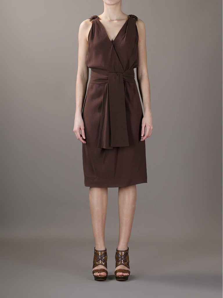 1990s Yves Saint Laurent Brown Dress For Sale 1