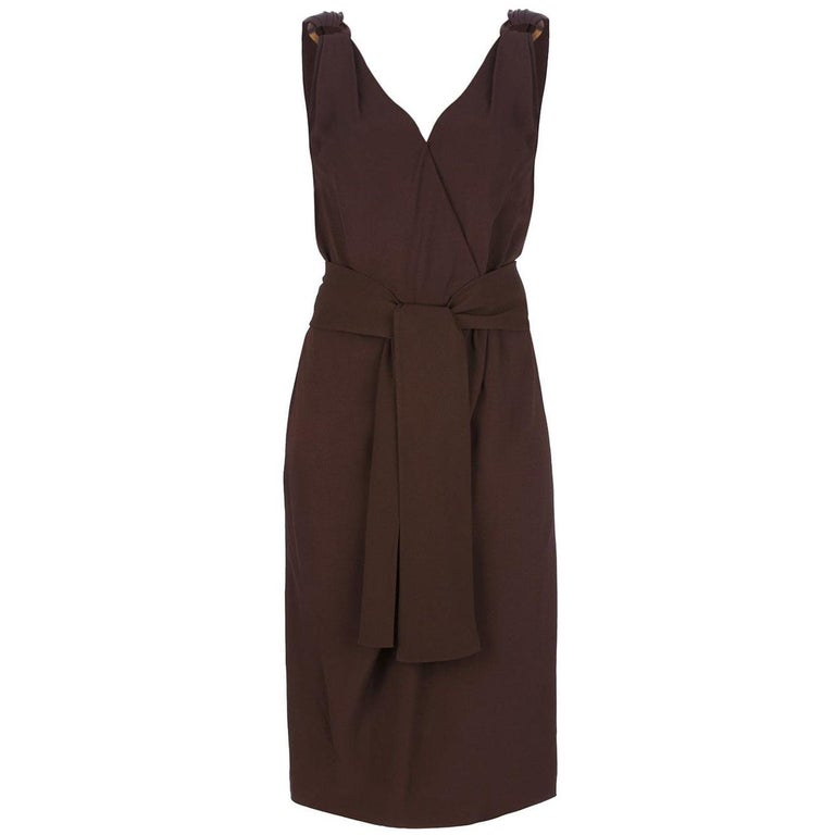1990s Yves Saint Laurent Brown Dress For Sale