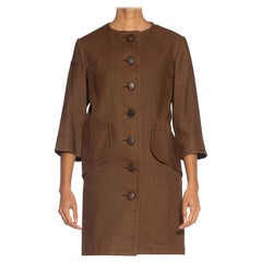 1990S YVES SAINT LAURENT Brown Haute Couture Linen 3/4 Length Jacket With Wood