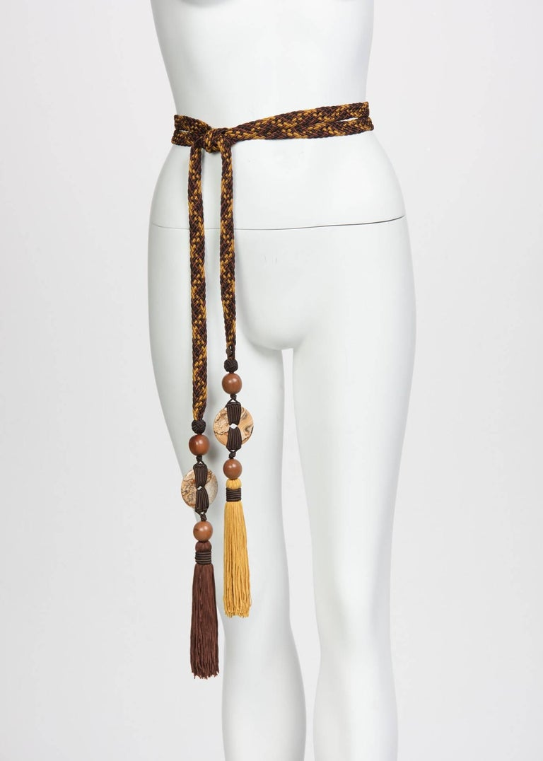 Black 1990s Yves Saint Laurent Brown Yellow Braided Tassel Belt w/ Wood & Agate Beads  For Sale