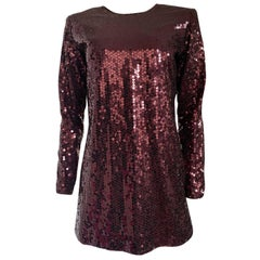 1990s Yves Saint Laurent Burgundy Sequin Micro Mini Dress or Tunic