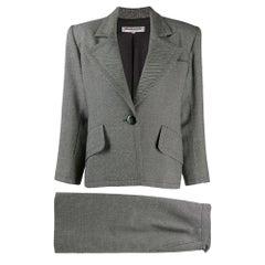1990s Yves Saint Laurent Grey Skirt Suit