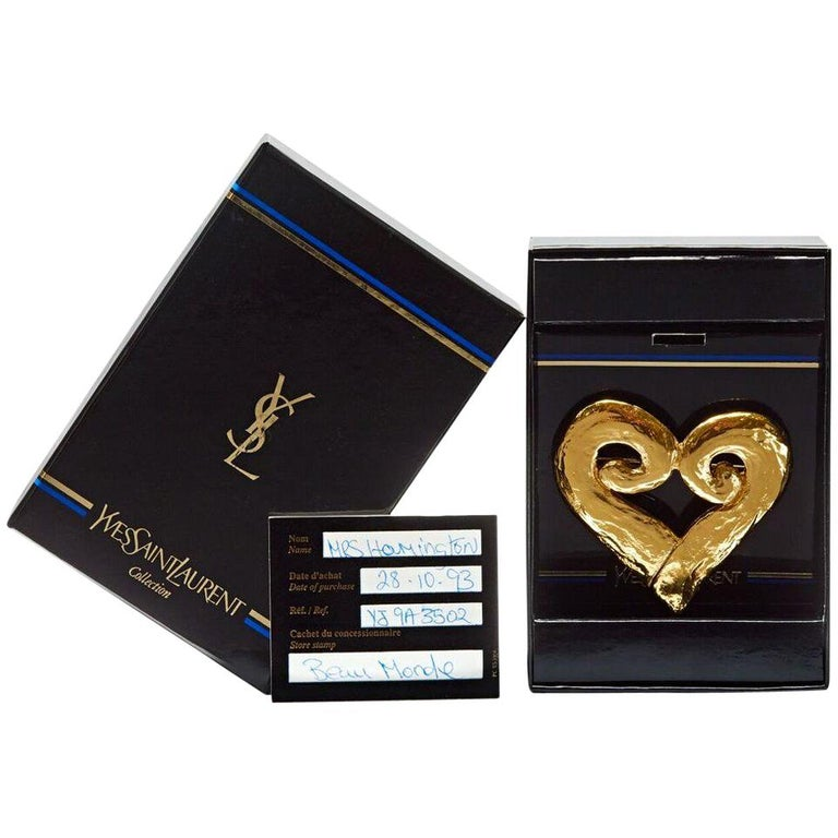 705333a8d87 1990s Yves Saint Laurent Large Gold Plated Heart Brooch with Original Box  For Sale