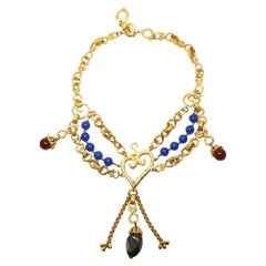 1990's YVES SAINT LAURENT layered gilt heart necklace with polished gemstones