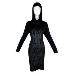 1990's Yves Saint Laurent Logo Monogram Hooded Black Knit L/S Dress