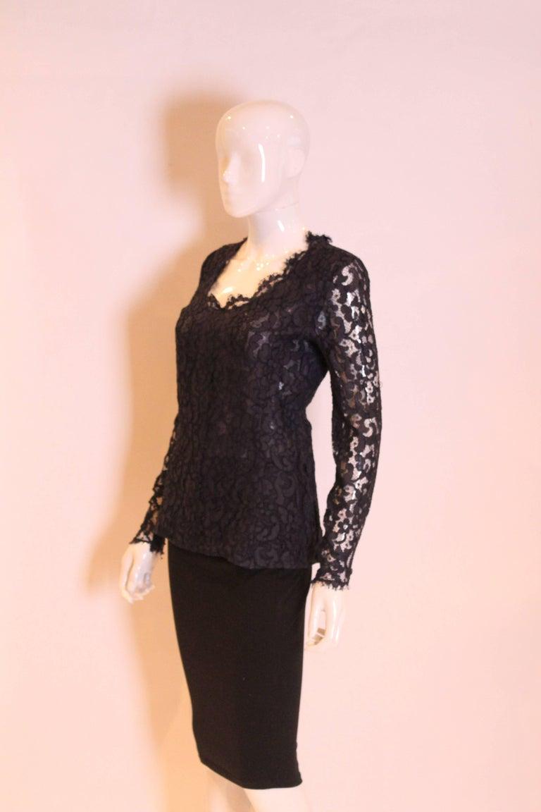 Black 1990s Yves Saint Laurent Navy Lace Top For Sale