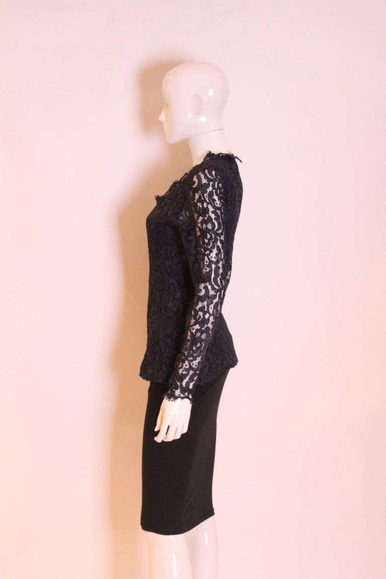 1990s Yves Saint Laurent Navy Lace Top In Excellent Condition For Sale In London, GB