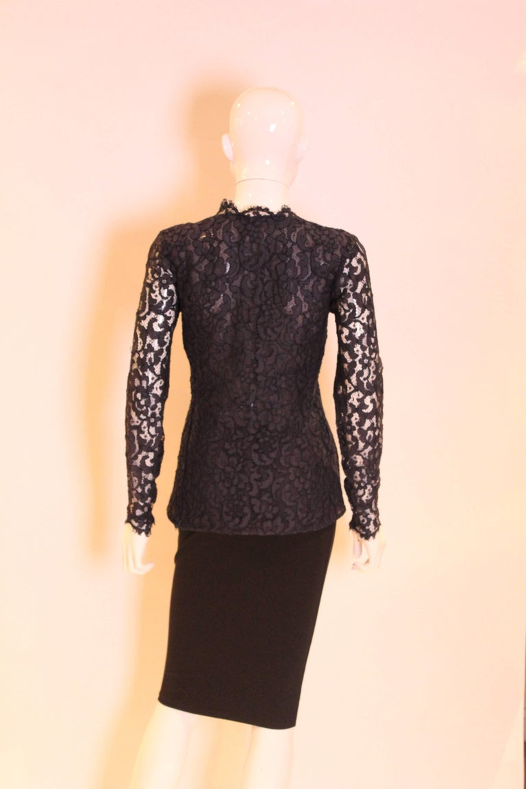 Women's 1990s Yves Saint Laurent Navy Lace Top For Sale