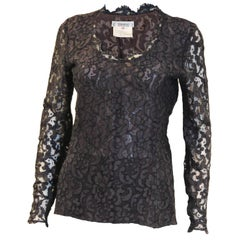 1990s Yves Saint Laurent Navy Lace Top