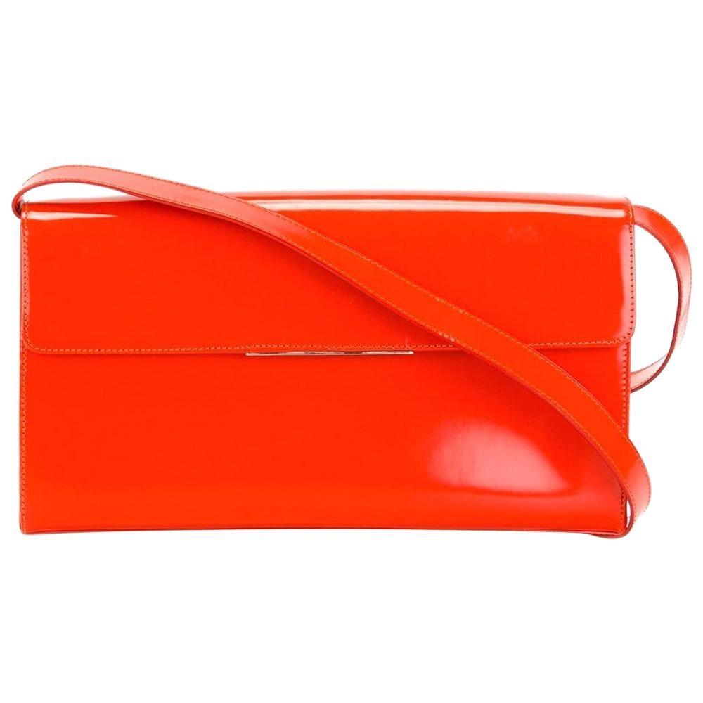 1990s Yves Saint Laurent Red Patent Leather Shoulder Bag