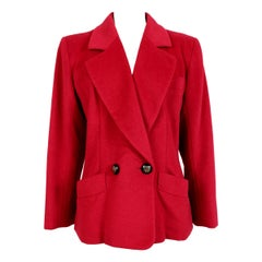 1990s Yves Saint Laurent Rive Gauce Double Breasted Cashmere Angora Red Jacket