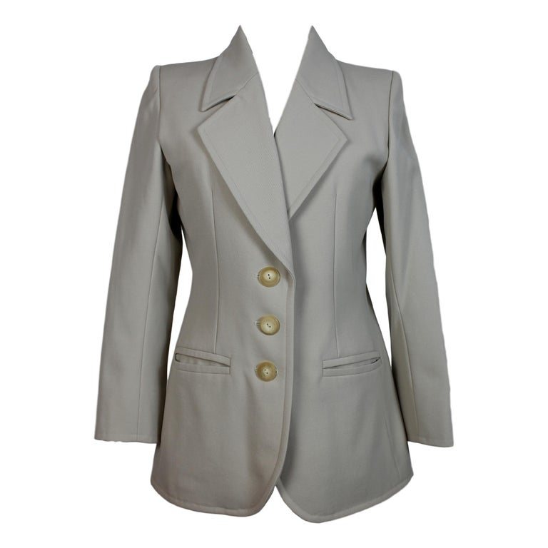 9a138d4e2f7 1990s Yves Saint Laurent Rive Gauche Gray Wool Jacket For Sale at ...
