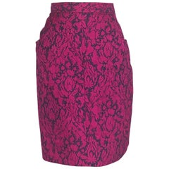 1990s Yves Saint Laurent Rive Gauche Magenta and Black Pencil Skirt