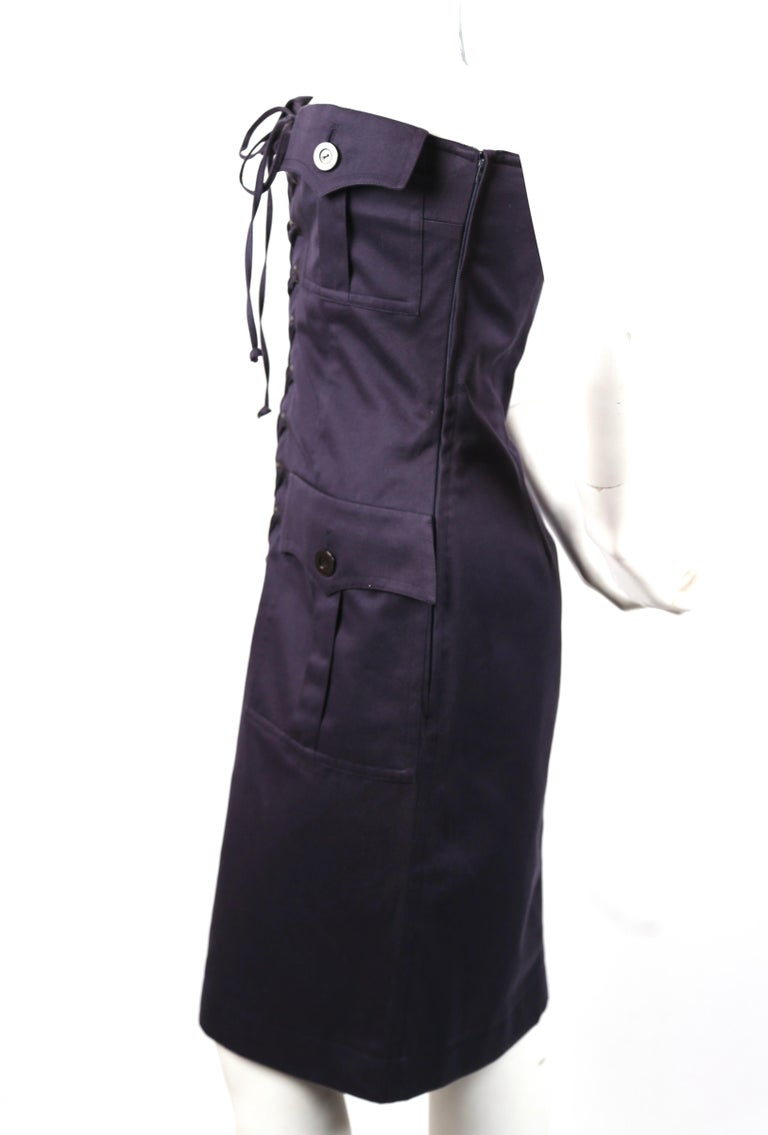 Black 1990's YVES SAINT LAURENT rive gauche navy strapless safari dress For Sale