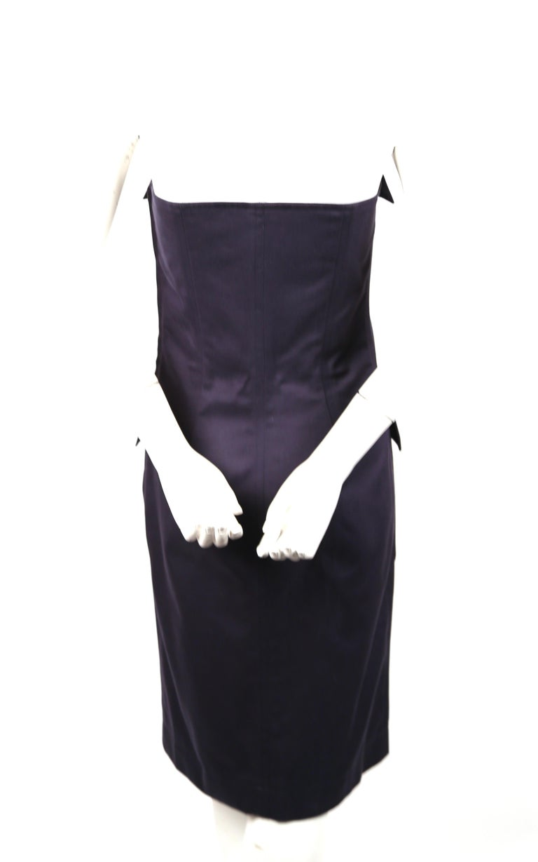 Women's or Men's 1990's YVES SAINT LAURENT rive gauche navy strapless safari dress For Sale