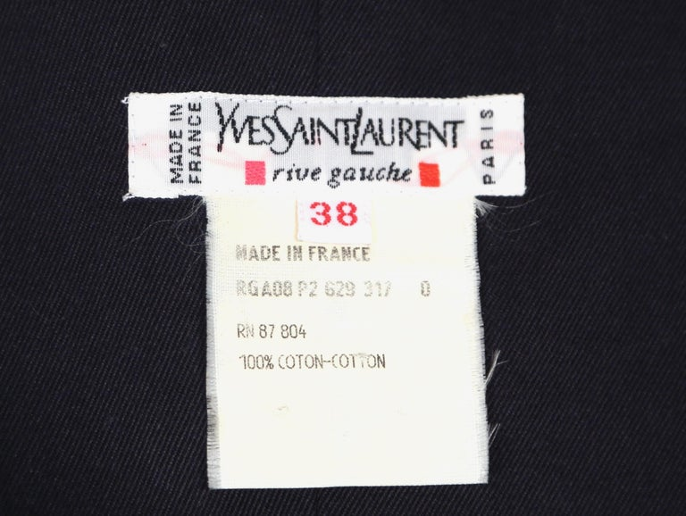 1990's YVES SAINT LAURENT rive gauche navy strapless safari dress For Sale 1