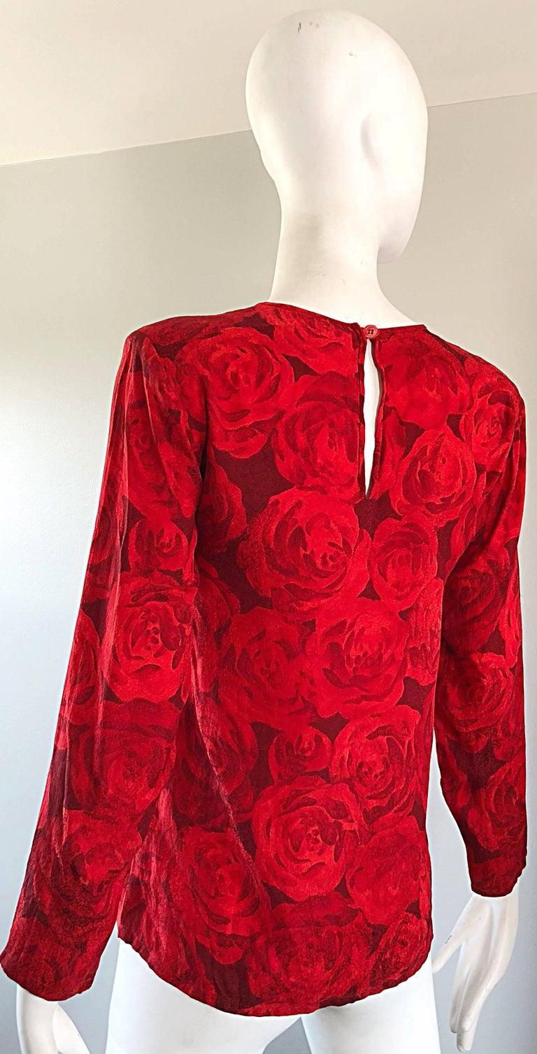 1990s Yves Saint Laurent Rive Gauche Rose Print Red Silk Vintage 90s Blouse Top For Sale 6