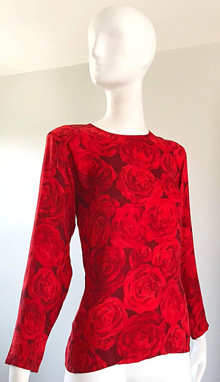 1990s Yves Saint Laurent Rive Gauche Rose Print Red Silk Vintage 90s Blouse Top For Sale 8