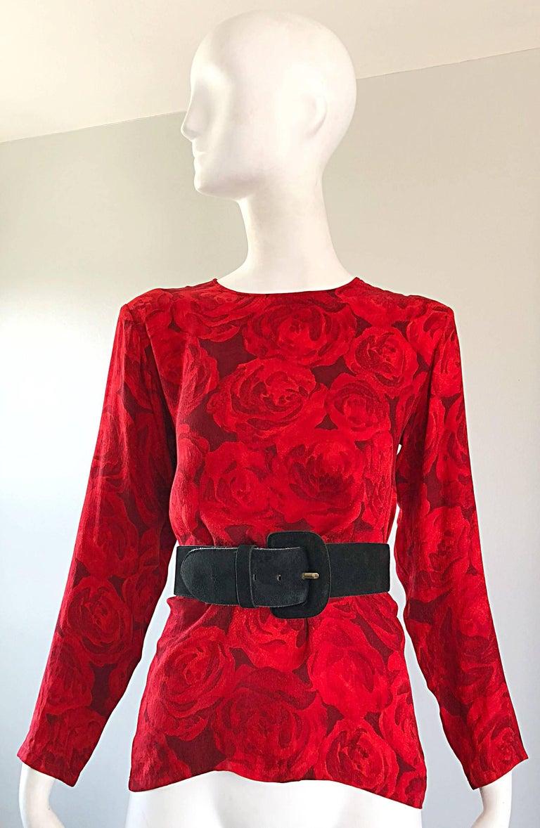 1990s Yves Saint Laurent Rive Gauche Rose Print Red Silk Vintage 90s Blouse Top For Sale 9