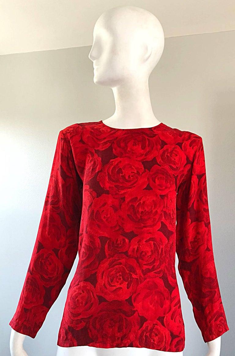 1990s Yves Saint Laurent Rive Gauche Rose Print Red Silk Vintage 90s Blouse Top For Sale 11