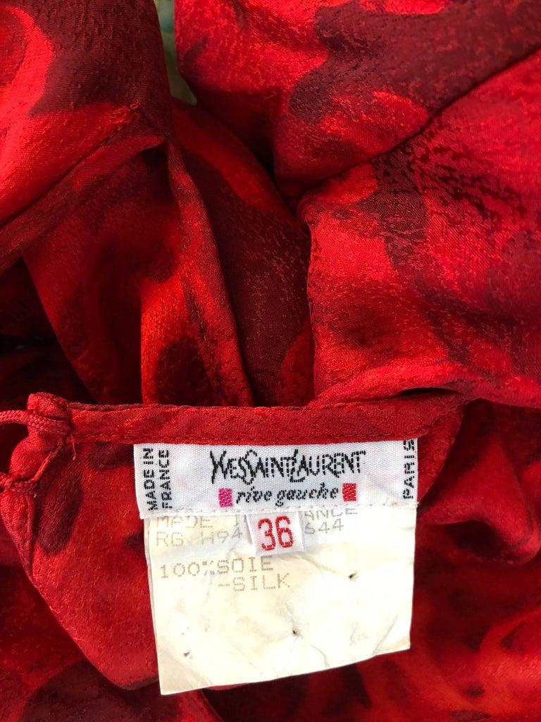 1990s Yves Saint Laurent Rive Gauche Rose Print Red Silk Vintage 90s Blouse Top For Sale 12