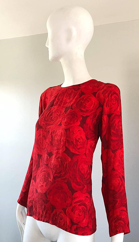 1990s Yves Saint Laurent Rive Gauche Rose Print Red Silk Vintage 90s Blouse Top For Sale 1