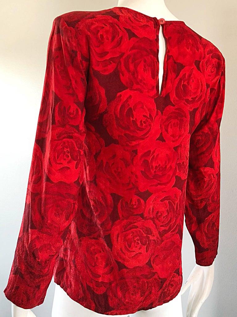 1990s Yves Saint Laurent Rive Gauche Rose Print Red Silk Vintage 90s Blouse Top For Sale 4