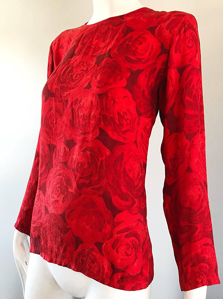 1990s Yves Saint Laurent Rive Gauche Rose Print Red Silk Vintage 90s Blouse Top For Sale 5