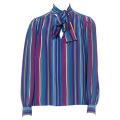 1990S YVES SAINT LAURENT RIVE GUACHE Blue & Red Silk Striped Pussybow Blouse