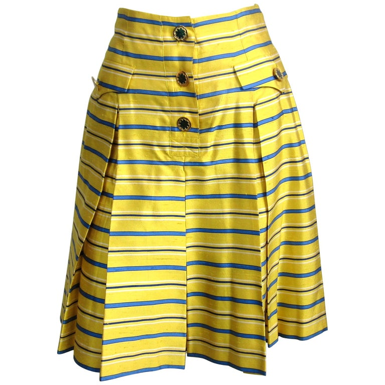 1990s Yves Saint Laurent Silk Dupioni Pleated Skirt size 34  For Sale