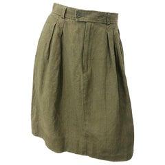 1990s Yves Saint Laurent YSL Rive Gauche Army Green Vintage 90s Linen Skirt