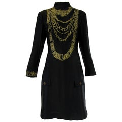 1990s Zandra Rhodes Black Silk Evening Dress With Gold Chain Print