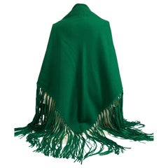 1990'sHermes Cashmere Leather Fringe Kelly Green Shawl