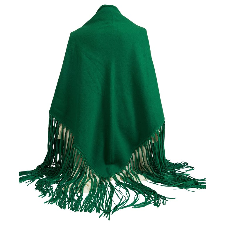 1990'sHermes Cashmere Leather Fringe Kelly Green Shawl For Sale