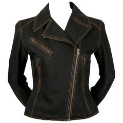 1991 AZZEDINE ALAIA black denim motorcycle jacket with corset laced back
