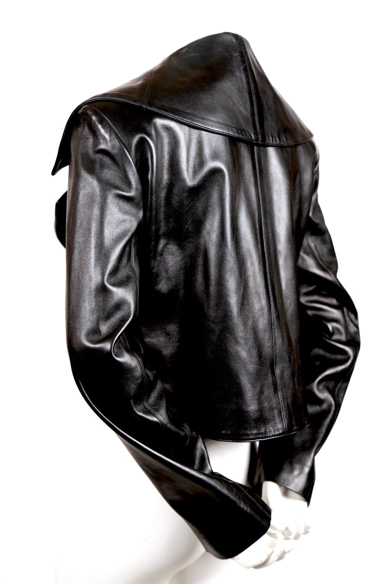 Black 1991 AZZEDINE ALAIA black leather jacket with shawl collar & frog closure For Sale