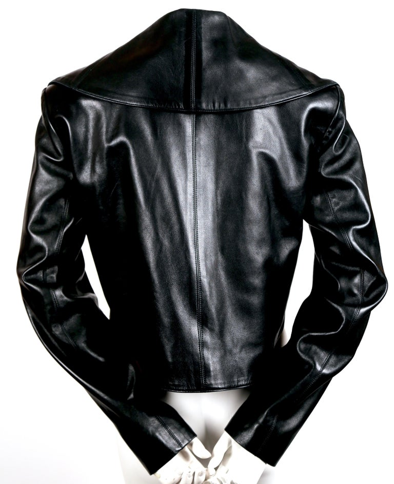 1991 AZZEDINE ALAIA black leather jacket with shawl collar & frog closure In Good Condition For Sale In San Fransisco, CA