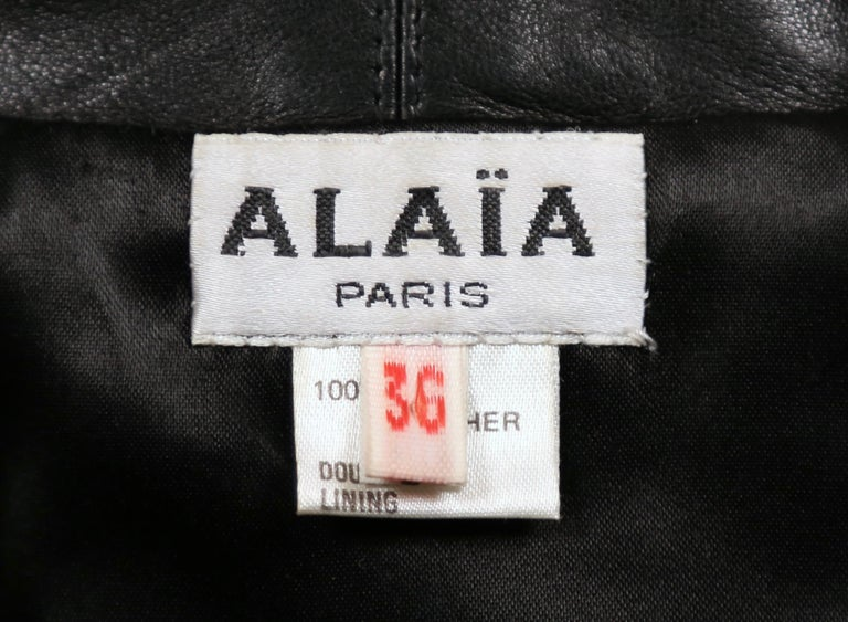 Women's 1991 AZZEDINE ALAIA black leather jacket with shawl collar & frog closure For Sale