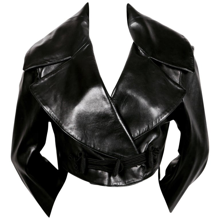 1991 AZZEDINE ALAIA black leather jacket with shawl collar & frog closure For Sale